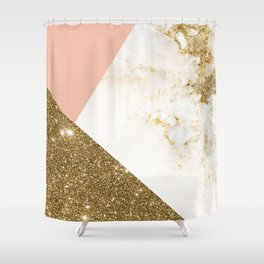 Gold marble collage Shower Curtain