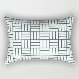 Basketweave (Dark Green & White Pattern) Rectangular Pillow