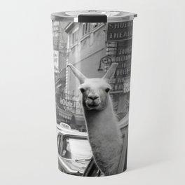 Llama Riding In Taxi Travel Mug