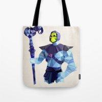 skeletor Tote Bags featuring Polygon Heroes - Skeletor by PolygonHeroes