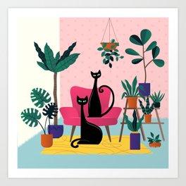 Sleek Black Cats Rule In This Urban Jungle Art Print