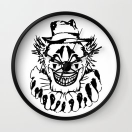 Black and white Evil Clown Wall Clock