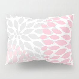 Pink Gray Dahlia Floral Pillow Sham
