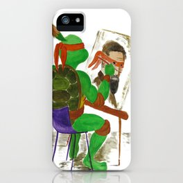 Michelangelo the ninja turtle painting Michelangelo the artist iPhone Case