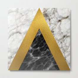 Gold foil white black marble #2 Metal Print