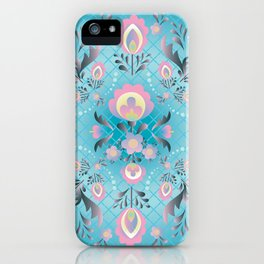 Folk Flowers in Pink and Dusty Blue iPhone Case