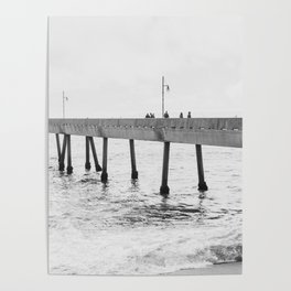 Fishing off Pacifica Pier Poster