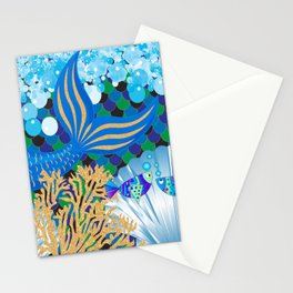 Ocean Blue Mermaid Tail Life Stationery Cards