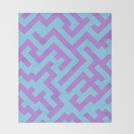 Lavender Violet and Baby Blue Diagonal Labyrinth Throw Blanket