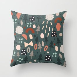 Holiday Forest Shapes Party Throw Pillow