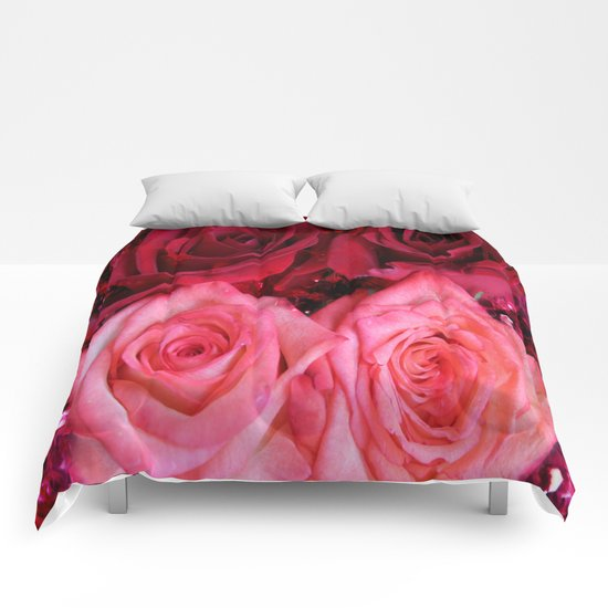 Glitter and Roses - Red and Pink Comforters
