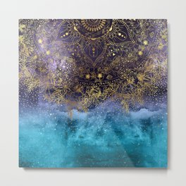 Gold floral mandala and confetti image Metal Print