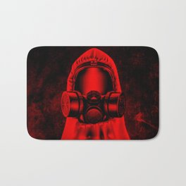 Toxic environment RED / Halftone hazmat dude Bath Mat