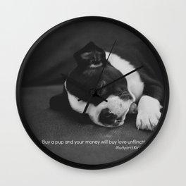 Puppy Love Rudyard Kipling Quote Wall Clock
