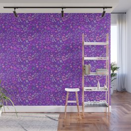 Hearts Paper Collage Valentines Day Pattern Violet Wall Mural