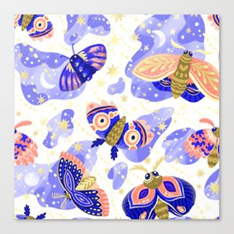 Abstract watercolor lilac navy blue gold butterflies Canvas Print