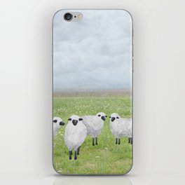 sheep and queen anne's lace iPhone Skin