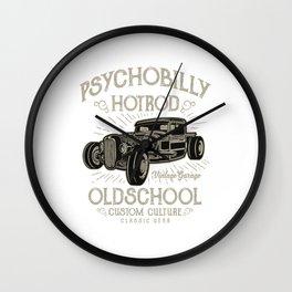 Psychobilly Hotrod Old School - Vintage, Classic Car T shirt Wall Clock