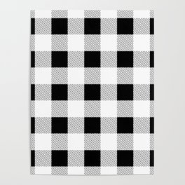 western country french farmhouse black and white plaid tartan gingham print Poster
