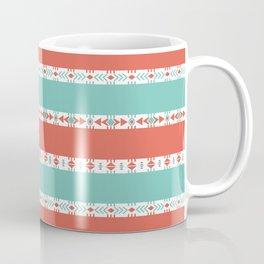 South Western Print in Modern Aqua Turquoise and Coral Geometric Diamonds Arrows Triangles Circles Coffee Mug