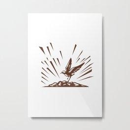Plover Landing Island Woodcut Metal Print