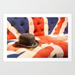 Black Bowler Hat Union Jack Chesterfield Color Art Print