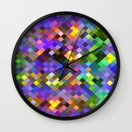 geometric square pixel pattern abstract in purple pink green yellow Wall Clock