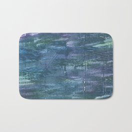 Metallic blue abstract watercolor Bath Mat
