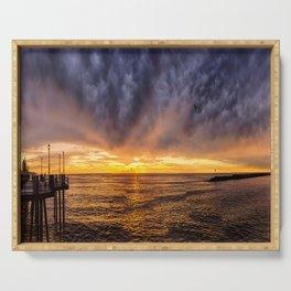 Redondo Beach Stormy Sunset Serving Tray