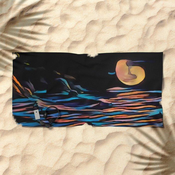 Moon over Beach Beach Towel