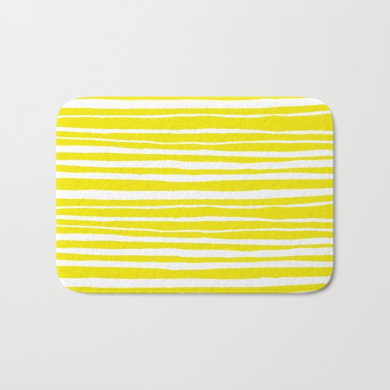 Small Sun Yellow Handdrawn horizontal Beach Stripes - Mix and Match with Simplicity of Life Bath Mat