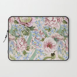 Vintage & Shabby Chic Floral Peony and Iris Flowers Watercolor Pattern Laptop Sleeve