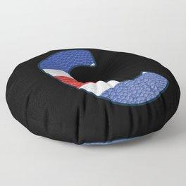 Je suis Charlie - Navy Alphabet - Leather Floor Pillow