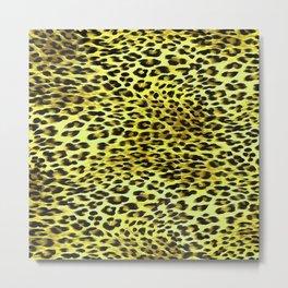 Yellow Tones Leopard Skin Camouflage Pattern Metal Print