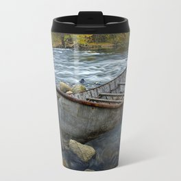 Canoe on the Thornapple River in Autumn Travel Mug