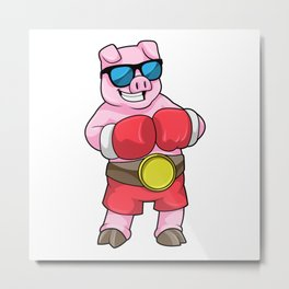 Pig as Boxer with Boxing gloves Metal Print