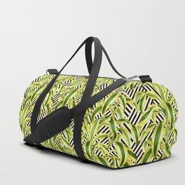 Palms on Stripped Herringbone Pattern - Black White Gold Duffle Bag