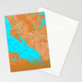 Newport News, VA, USA, Gold, Blue, City, Map Stationery Cards
