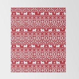 Havanese fair isle christmas sweater pattern dog breed gifts festive holidays Throw Blanket