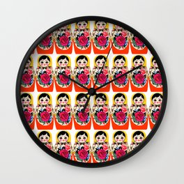Babushka ya ya red Wall Clock