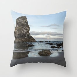 A Serene Morning at Cannon Beach Throw Pillow