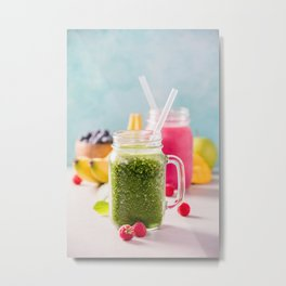 Close-up of green fresh smoothie with fruits, berries, oats and seeds, selective focus Metal Print