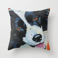 border collie Throw Pillows featuring Border Collie by Melissa Smith Pet Art