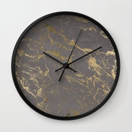 Modern Grey cement concrete gold marble pattern Wall Clock