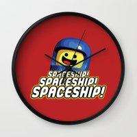 spaceship Wall Clocks featuring Spaceship! by D-fens