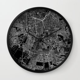Santiago Black Map Wall Clock