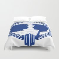 river song Duvet Covers featuring Doctor Who pals: The 10th doctor & River Song by logoloco