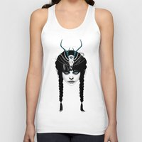 ruben Tank Tops featuring Wakeful Warrior - In Blue by Ruben Ireland