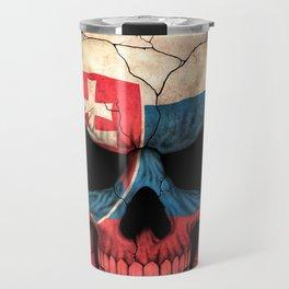 Dark Skull with Flag of Slovakia Travel Mug