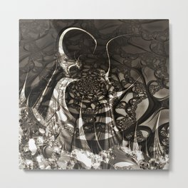 Life of black and white abstract creatures Metal Print